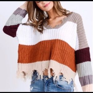 HELLO FALL Color Block Distressed Sweater